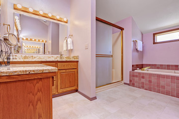 Bathroom interior in light pink tone