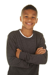 Handsome African American Boy on a White Background