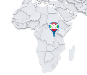 Burundi on a map of Africa
