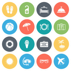 Travel, vacation round vector icons collection