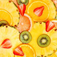 Sliced Fruits. Background. Strawberry, Kiwi, Pineapple