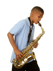 African American Boy Playing his Saxophone on a White Background