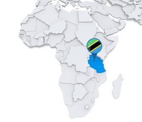 Tanzania on a map of Africa