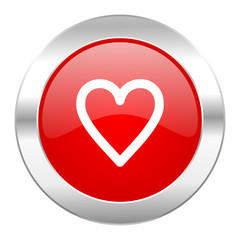 heart red circle chrome web icon isolated