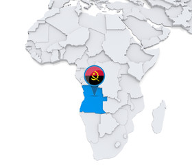Angola on a map of Africa