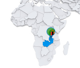 Zambia on a map of Africa