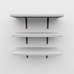 Empty shelves on the wall