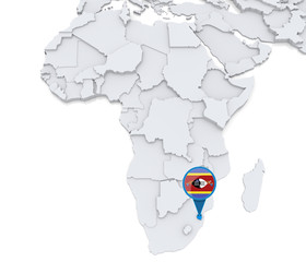 Swaziland on a map of Africa