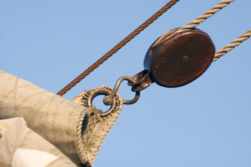 Pulley and sail from a  old sailboat