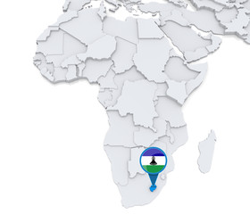 Lesotho on a map of Africa