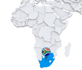 South Africa on a map of Africa