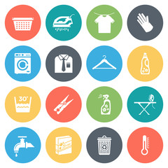 Housework round vector icons collection