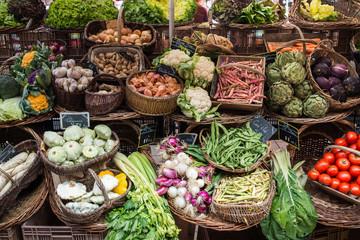 colorful Fruit and Vegetables at Market, Beaune, Dordogne, Franc