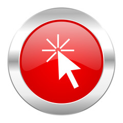 click here red circle chrome web icon isolated