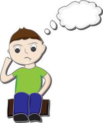 Boy thinking cartoon