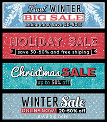 christmas  banners with sale offer, vector illustration