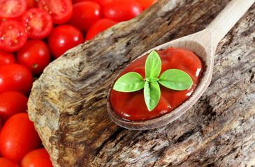 Salsa di pomodoro su cucchiaio di legno rustico