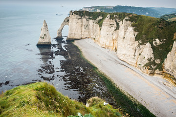 Porte d'Aval arch in the cliffs at Etretat Normandy France