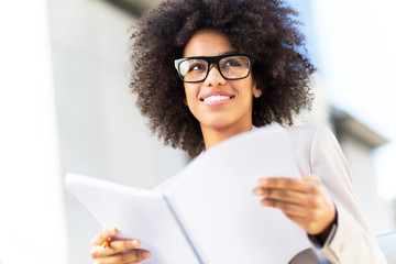 Young businesswoman with afro hair