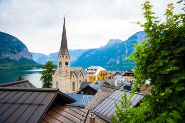 View of Hallstatt village with Christuskirche church bell tower