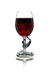 Glass with red wine and water