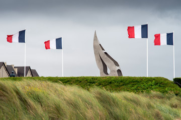 The Flame Monument at Sword beach, Ouistreham, Normandy, France.