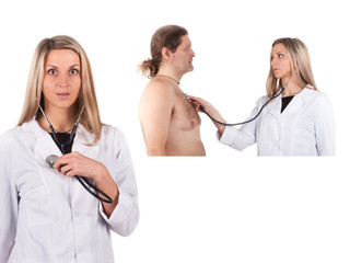 doctor examines man's chest