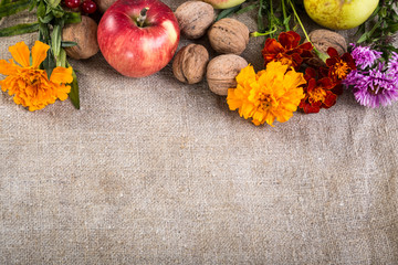 Fruits on linen background