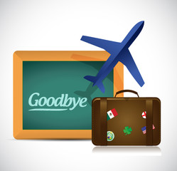 goodbye travel sign illustration design