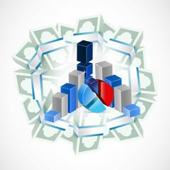 money around business graphs. illustration