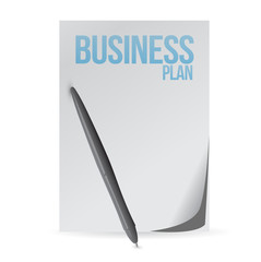 business plan page and pen. illustration