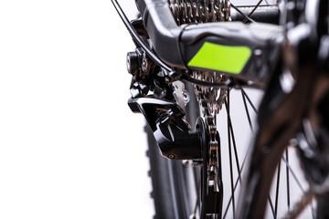 close-up of mountain bike, studio shot.