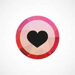 heart circle pink triangle background icon.
