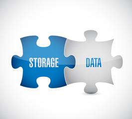 storage data puzzle pieces illustration design