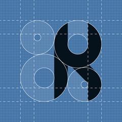 Round engineering font. Symbol K