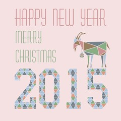 Goat Christmas greeting card with figures on a pink background