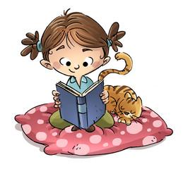 niña sentada leyendo