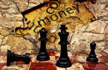 Money puzzle chess concept