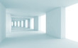 Abstract architecture 3d background, empty blue corridor