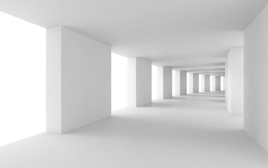 Abstract 3d background, empty bent white corridor