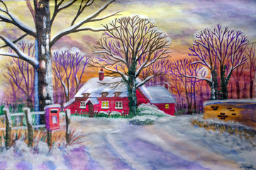 Watercolor painting of winter landscape