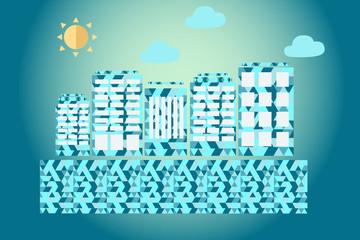 Абстрактный синий город