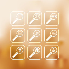 Search icons set isolated on a gradient mesh background