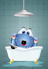 Funny car in bath for washing