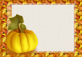 Beautiful Autumn Background Card with Pumpkins in Warm Colors.