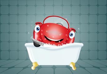 Funny car in bath for car washing