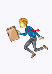 Businessman running cartoon, art vector illustration