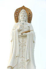 goddess of mercy statue at seaside in nanshan temple, china