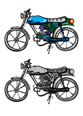 classic motorcycle, art vector illustration