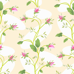 Vector seamless vintage flower rose pattern.